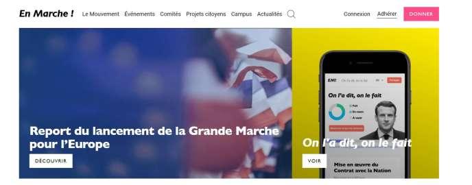 Capture d'écran du site de La République en marche.