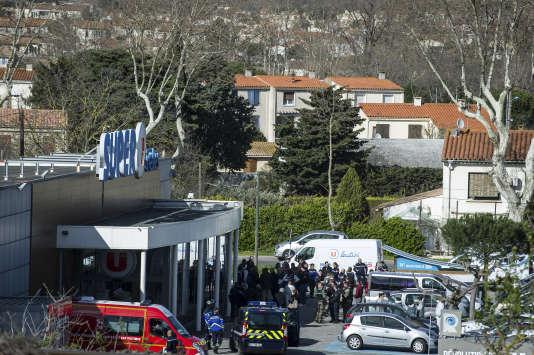 Une attaque terroriste a eu lieu le 23 mars à Carcassonne et Trèbes (Aude). L'assaillant a été abattu dans le supermarché Super U de Trèbes.