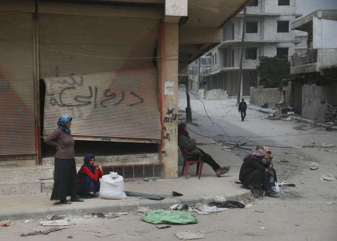 Dans la cité d'Afrin, en Syrie, le 24 mars 2018.