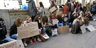 Manifestation des étudiants à la fac de droit de Montpellier, le vendredi 23 mars.