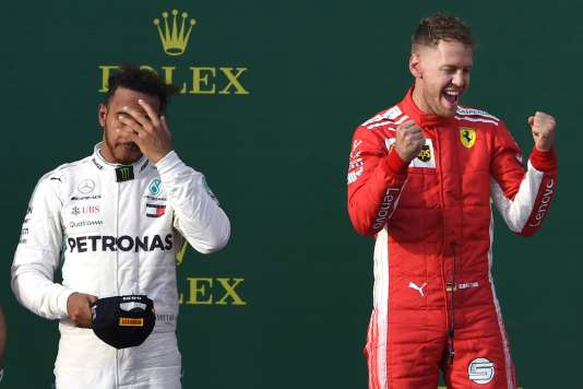 Lewis Hamilton et Sebastian Vettel, à Melbourne, le 25 mars 2018.
