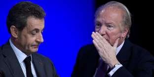 Nicolas Sarkozy et Brice Hortefeux assistent à un conseil national du parti Les Républicains, à Paris, le 13 février.