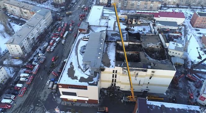 Le centre commercial de Kemerovo, en Sibérie, a été ravagé par un incendie le 25 mars 2018.