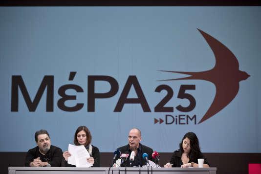 Yanis Varoufakis lors du lancement de son nouveau parti.