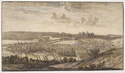 « Château et parc de Meudon, vus du côté du village de Fleury», par Israël Silvestre (1687), Musée du Louvre, département des arts graphiques.
