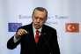 Le président turc Recep Tayyip Erdogan lors de la conférence de presse conjointe, à l'issue du sommet euro-turc de Varna, le 26 mars.