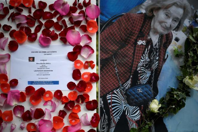 Devant la résidence où vivait Mireille Knoll, un an appel à la marche blanche organisée en sa mémoire, mercredi 28 mars.