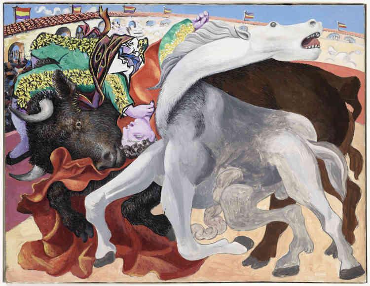 """«La tauromachie est l'un des sujets de prédilection de Picasso. Particulièrement présente dans les années 1930, elle échappe à l'anecdote pour servir à l'expression d'une triangulation complexe entre le taureau, le cheval et le toréro. Traitée à la manière d'une danse macabre, la scène est cadrée sur les trois protagonistes du rituel. Le cheval incarne ici la victime souffrante et le taureau la puissance à l'état sauvage. Picasso puisera naturellement dans ce répertoire typiquement espagnol pour """"Guernica"""".»"""