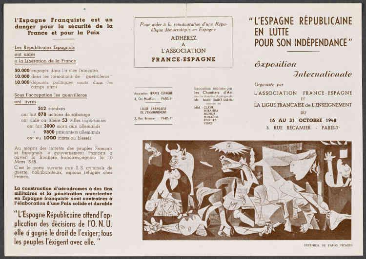 """«Après-guerre, Picasso est sollicité par de très nombreuses associations d'aide aux réfugiés espagnols. Il adhère, par exemple, à l'Association France-Espagne, présidée par son ami Paul Eluard. En plus de sa participation et de ses dons à ces comités, Picasso, en tant que """"peintre de Guernica"""", devient leader du front artistique antifranquiste.»"""