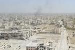Image aérienne d'un quartier dela Ghouta orientale, en Syrie, le 25 mars 2018