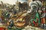 Ivan le Terrible faisant faire rôtir ses ennemis, gravure du XVIe siècle colorisée.