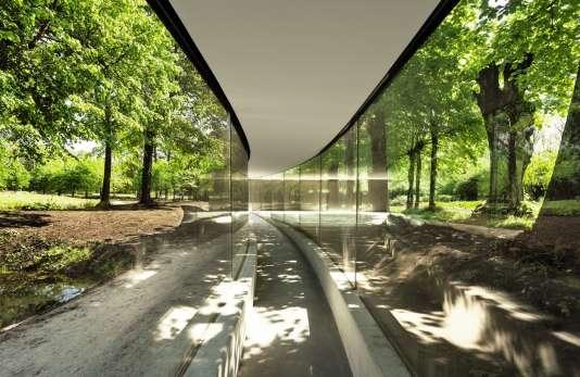 «Dans le parc de Vijversburg aux Pays-Bas, j'ai construit une structure en verre transparent dont la seule courbure soutient le toit», explique l'architecte japonais.