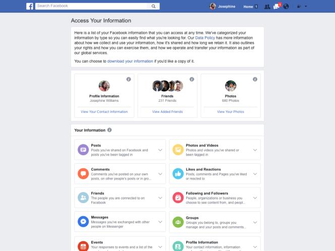 Ce nouvel écran permettra de supprimer plus facilement les informations personnelles du réseau social.