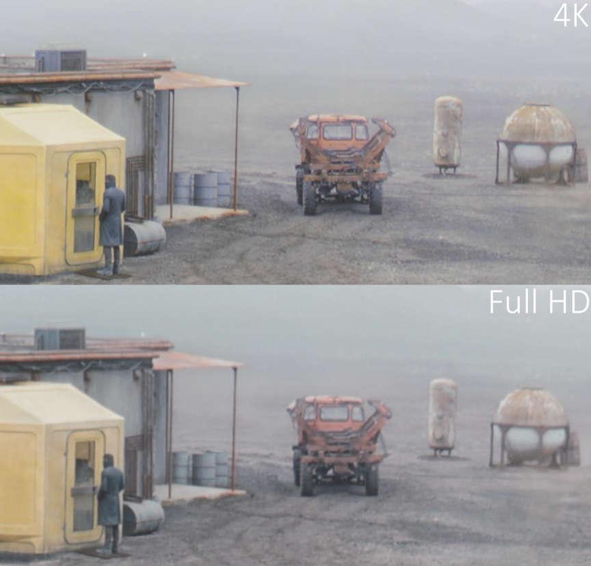Dans ce détail d'une scène de «Blade Runner2049 », l'image full HD paraît plate tandis que l'image en 4K donne une belle sensation de relief.
