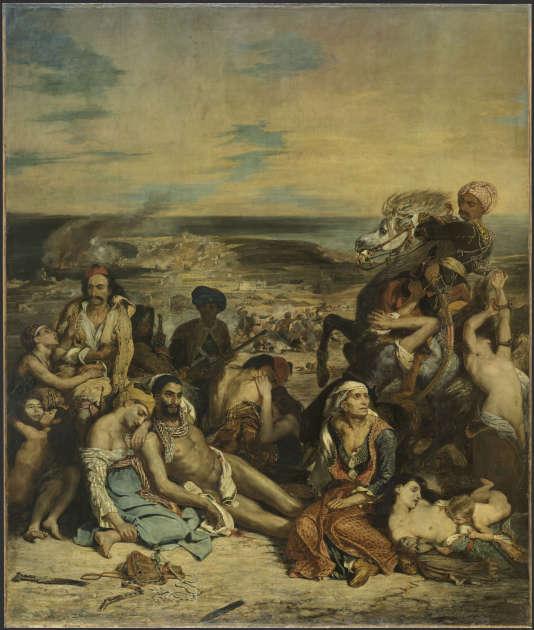 «Scène des massacres de Scio» (1824), d'Eugène Delacroix, huile sur toile, 419 × 354 cm.
