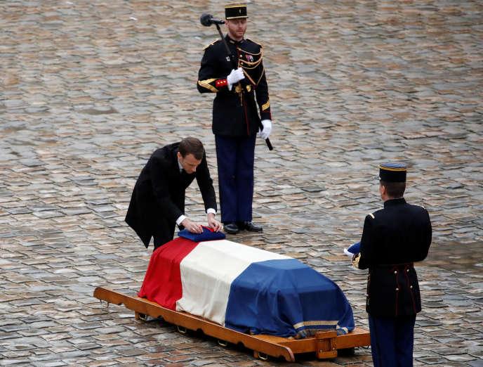 Le président Emmanuel Macron lors de l'hommage national au colonel Arnaud Beltrame, victime de l'islamiste Radouane Lakdim.