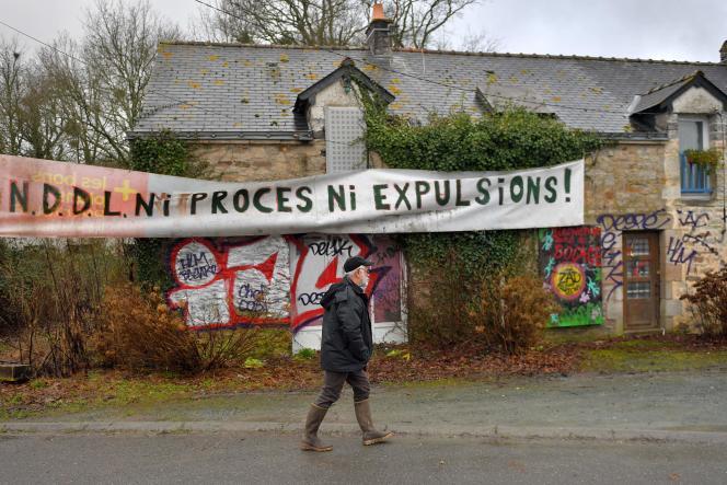 Sur la ZAD, àNotre-Dame-des-Landes , le 22 janvier.