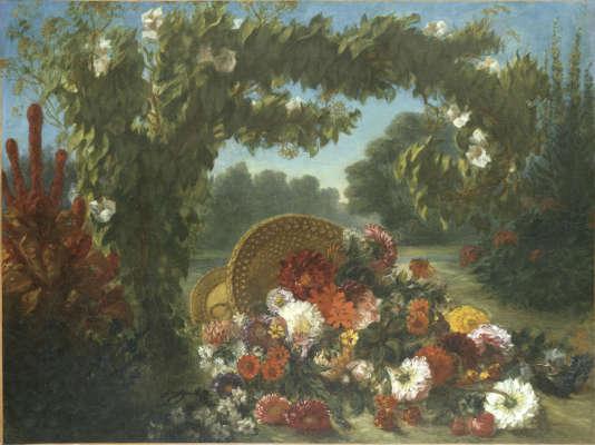 «Corbeille de fleurs renversée dans un jardin»(1849),d'Eugène Delacroix .