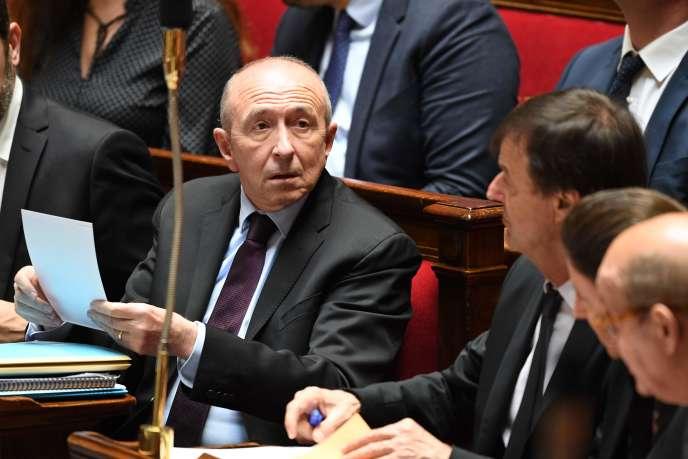 Le ministre de l'intérieur, Gérard Collomb, lors d'une session de questions à l'Assemblée nationale, mercredi 28 mars.