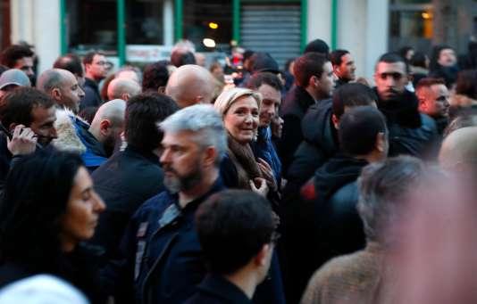Marine Le Pen, lors de la marche blanche en hommage à Mireille Knoll, le 28 mars, à Paris.