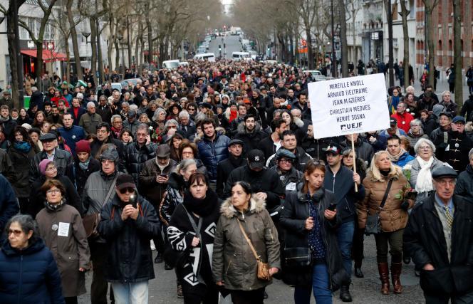 Lors de la marche blanche en mémoire de Mireille Knoll, mercredi 28 mars.