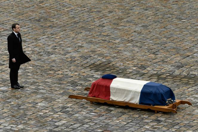 Emmanuel Macron, lors de l'hommage à Arnaud Beltrame, aux Invalides,le 28 mars 2018 à Paris.