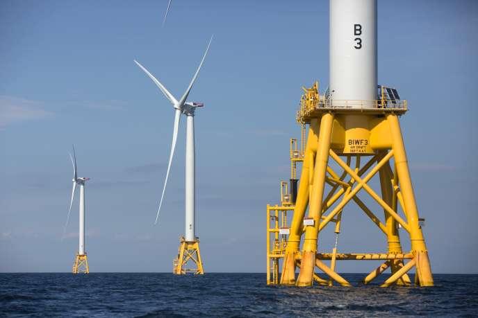 Parc éolien de Block Island, aux Etats-Unis, en août 2016, construit par GE-Alstom.