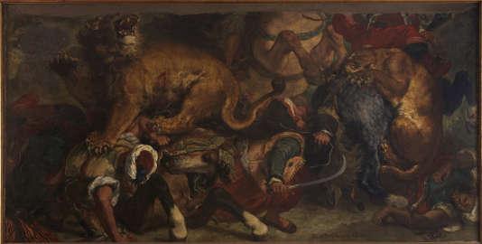 «Chasse aux lions»(1854-1855), d'Eugène Delacroix, huile sur toile, 173 x 361 cm.
