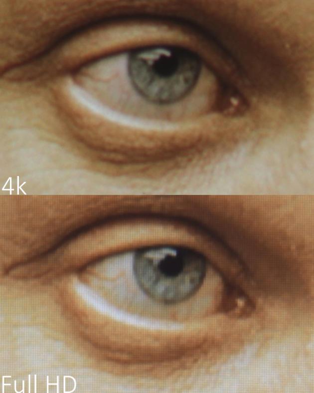 Sur ce tout petit détail de l'image, les rides et les veines dans le blanc de l'œil sont bien plus définis en 4K.