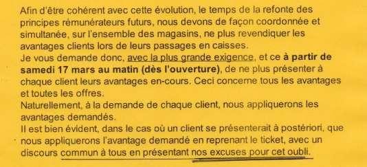 Extrait du courriel envoyé par le directeur commercial de La Halle.