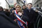 Marine Le Pen lors de la marche à la mémoire de Mireille Knoll, à Paris le 28 mars.