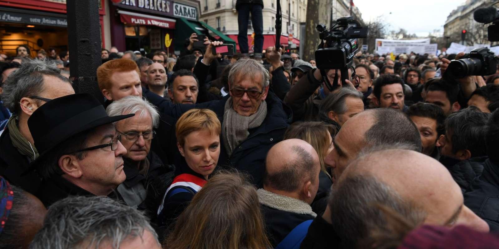 Jean-Luc Mélenchon, le 28 mars, lors de la marche blanche en mémoire de Mireille Knoll.