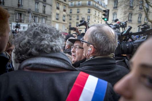 Jean-Luc Mélenchon, lors de la marche blanche en hommage à Mireille Knoll, le 28 mars, à Paris.