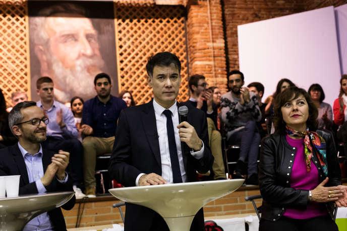 Olivier Faure lors d'une rencontre avec des militants PS de Haute Garonne, à Toulouse, le 28mars.
