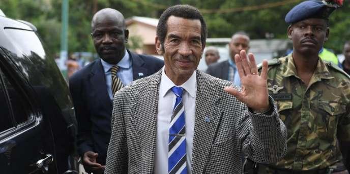Le président du Botswana, Ian Khama, dans son village de Serowe, le 27mars 2018.