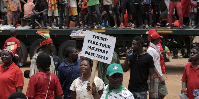 Manifestation à Accra, le 28mars 2018, contre l'accord de défense conclu entre le Ghana et les Etats-Unis.