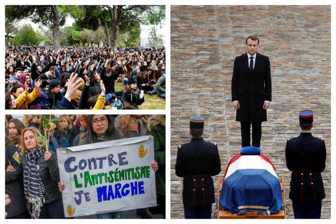 Montage photo. Hommage à Arnaud Beltrame, marche blanche, blocage des facs : toutes les infos à retenir de la semaine