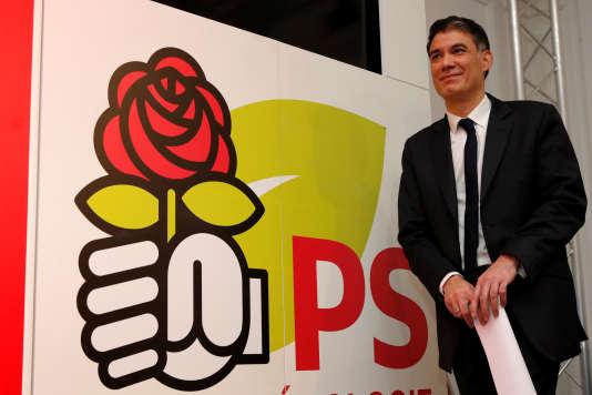 Le nouveaupremier secrétaire du PS Olivier Faure au siège parisien du parti,rue de Solférino, le 30mars.