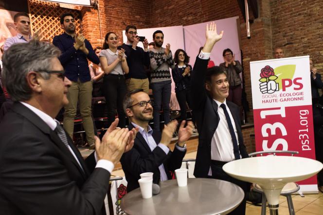 Olivier Faure en réunion avec des militants PS de Haute-Garonne, à Toulouse, le 28mars.