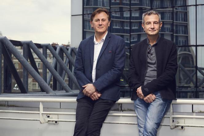Les médecins Vincent Renard et Bruno Falissard, à Paris, en mars 2018.