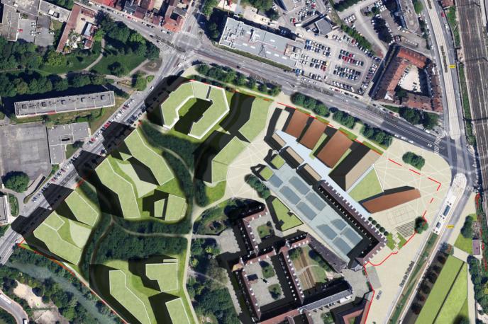 «La Cité comprendra un écoquartier de 540 logements, avec au moins 30 % de logements sociaux. Sont également prévues des résidences étudiante, de tourisme et pour seniors et des espaces commerciaux sur plus de 5 000 m².» En photo: vue de l'hôpital général de Dijon où sera construite la Cité internationale de la gastronomie et du vin (capture d'écran du site de la Cité).