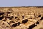 Vue du palais royal de Mari, une cité du troisième millénaire av. J.-C., dans la vallée de l'Euphrate en Syrie.