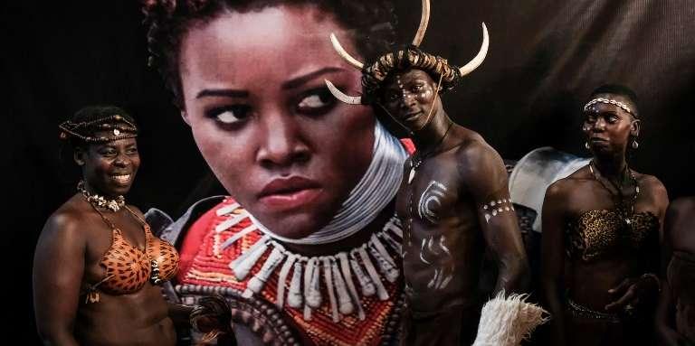 Lors de lapremière projection mondiale de « Black Panther», à Kisumu, au Kenya, le 13février 2018.