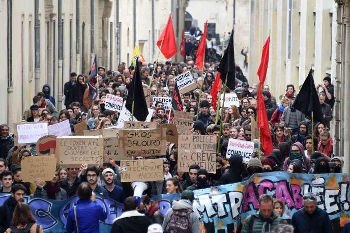 Manifestation d'étudiants, le 30 mars à Montpellier.