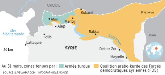 Une carte du territoire syrien, au 31 mars.