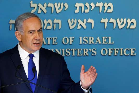 Conférence de presse deNétanyahou à Tel Aviv, le 2 avril.