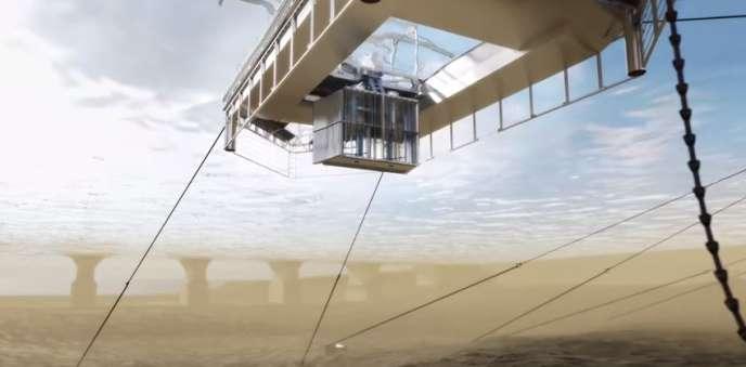 Accrochée à une plate-forme flottante dans la Garonne, devant le Pont de pierre de Bordeaux, l'hydrolienne d'HydroQuest est formée de quatre turbines d'une puissance totale de 80 kilowatts.