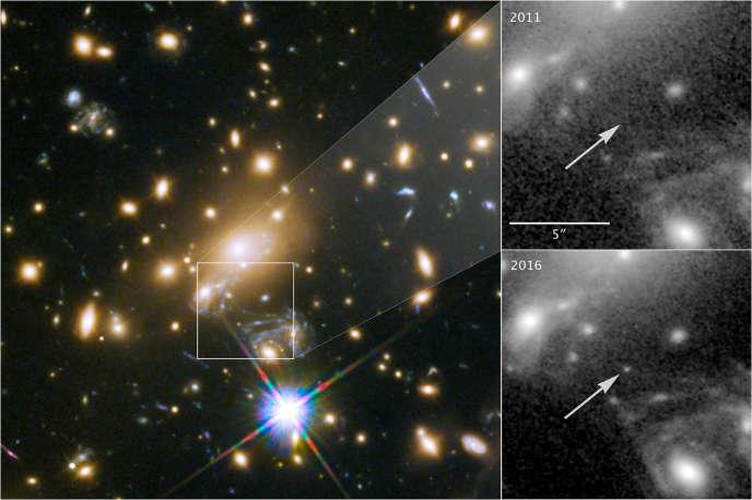 Des images de l'étoile J1149 + 2223 prises par le télescope spatial Hubble, révélées le 2avril par la NASA.