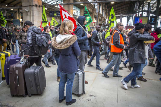 Gare du Nord, à Paris, mardi 3 avril 2018.