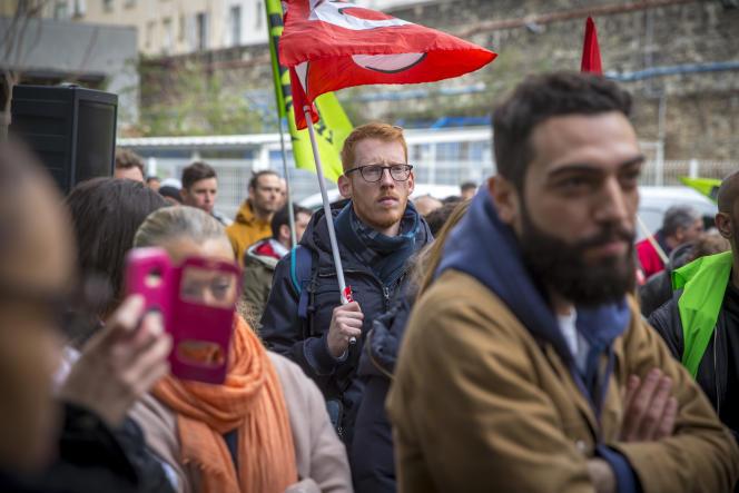 AG de l'intersyndicale des cheminots de Paris-Nord contre le projet de réforme de la SNCF, à Paris, le 3 avril.
